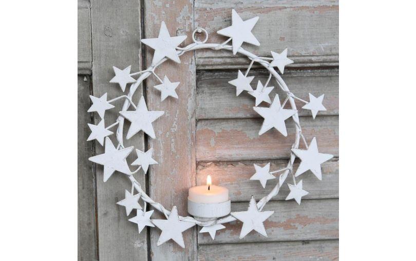 Metalowy świecznik do zawieszenia biały w gwiazdy