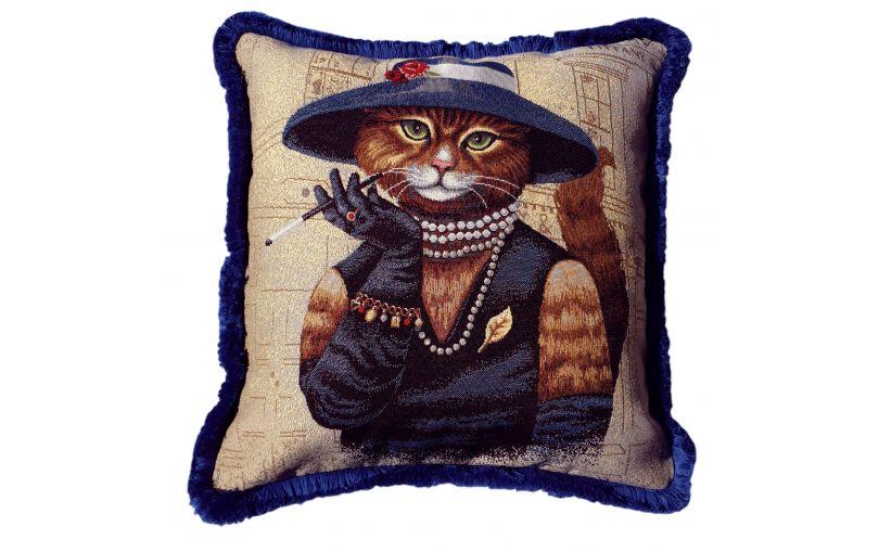 Żakardowa poduszka premium kotka COCO