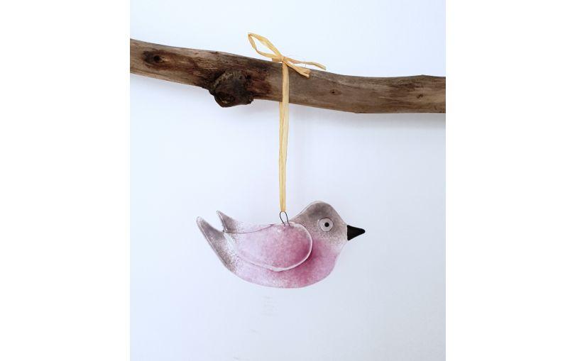 Zawieszka szklany duży ptaszek fioletowy