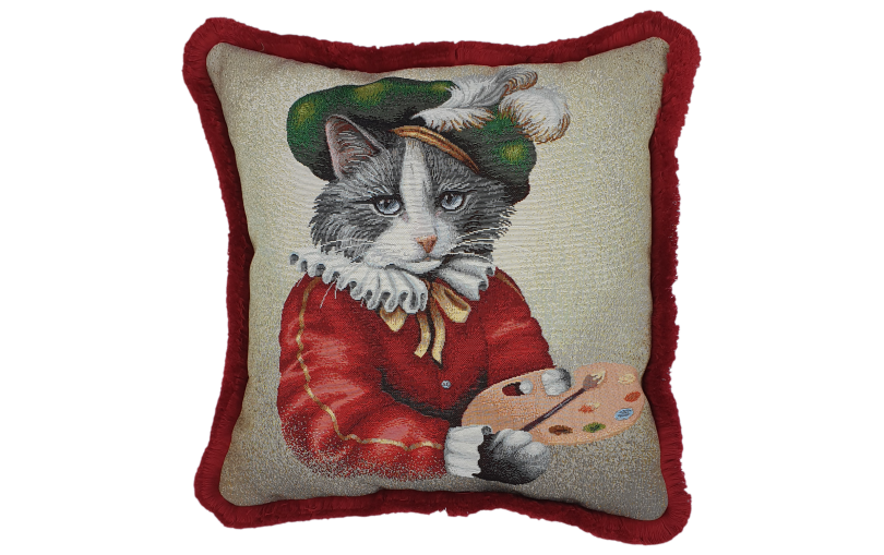 Poduszka żakardowa kot malarz