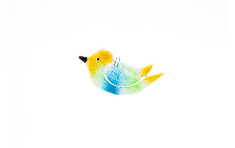 Zawieszka szklany duży ptaszek niebieski, zielony, żółty