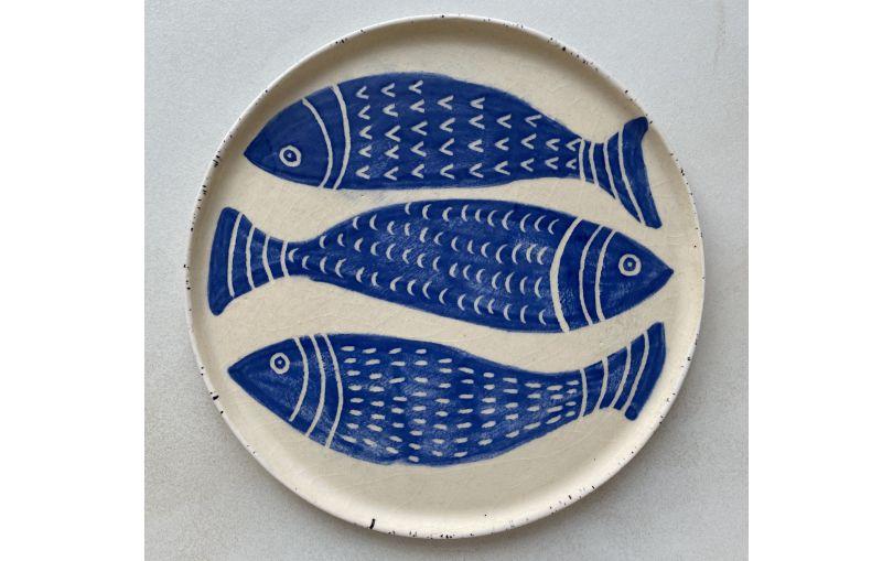 Talerz trzy ryby 20 cm ceramiczny