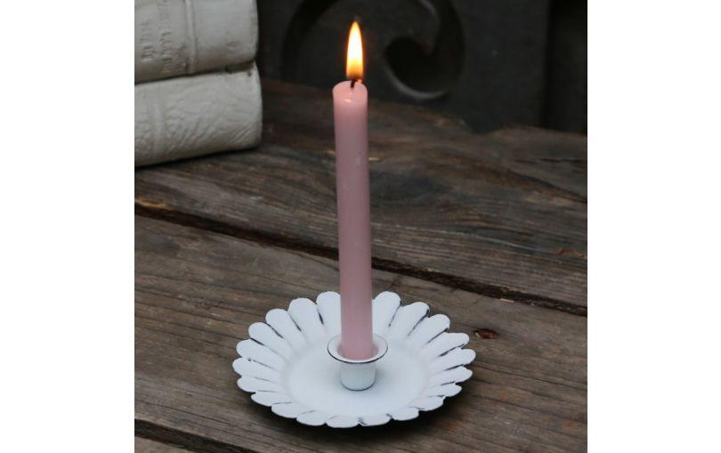 Świecznik metalowy biały na cienkie świeczki